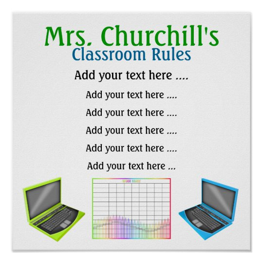 School Teacher's Classroom Rules by SRF Poster