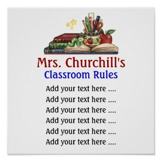 School Teacher's Classroom Rules Lg. by SRF print