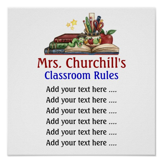 School Teacher's Classroom Rules Lg. by SRF Poster