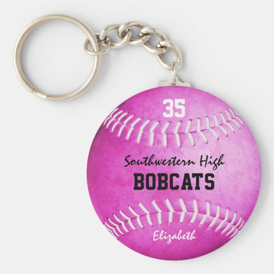 School team and player name pink softball keychain