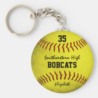 School team and player name yellow softball keychain
