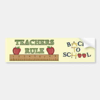 School Theme Teachers Rule Fun Bumper Sticker
