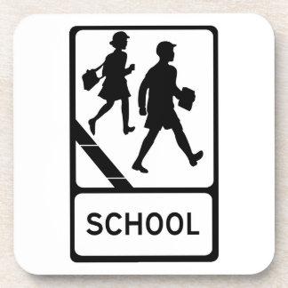 School, UK Traffic Sign Beverage Coaster
