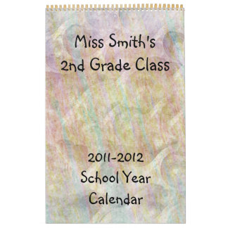 School Year Calendar with lined pages