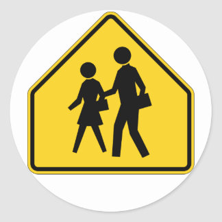 School Zone Highway Sign Round Stickers