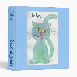 Schoolbinder divertido azul del gato