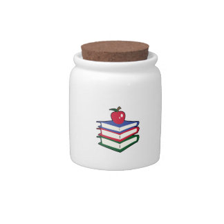 SCHOOLBOOKS AND APPLE CANDY JAR
