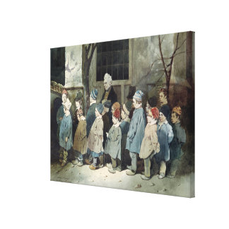 Schoolboys in the Playground Stretched Canvas Print