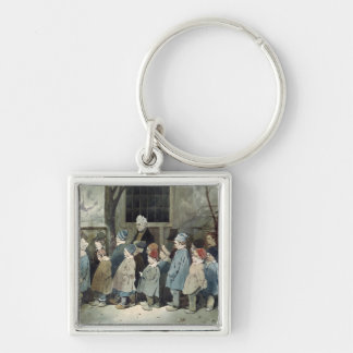 Schoolboys in the Playground Silver-Colored Square Keychain