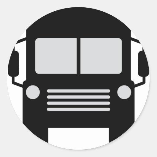 schoolbus icon round sticker