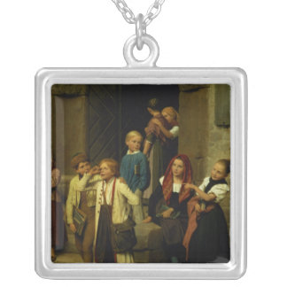 Schoolchildren Watching a Boy Cry, 1861 Silver Plated Necklace