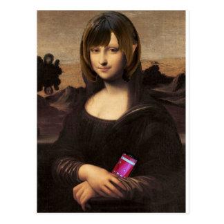 Schoolgirl style Mona Lisa Postcard