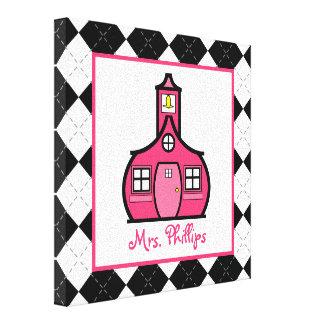 Schoolhouse & Argyle Wrapped Canvas For Teacher Canvas Print