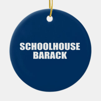 SCHOOLHOUSE BARACK Double-Sided CERAMIC ROUND CHRISTMAS ORNAMENT