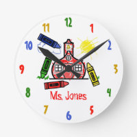 Schoolhouse & Crayons Teacher Clock