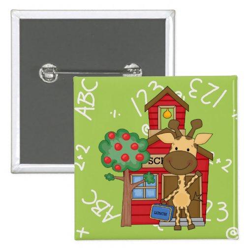 Schoolhouse Giraffe 2 Inch Square Button