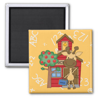 Schoolhouse Giraffe 2 Inch Square Magnet