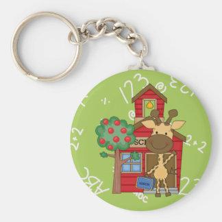 Schoolhouse Giraffe Basic Round Button Keychain