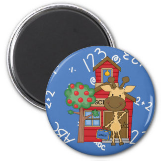 Schoolhouse Giraffe 2 Inch Round Magnet