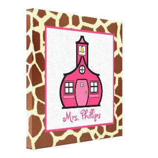 Schoolhouse & Giraffe Wrapped Canvas For Teacher Canvas Print