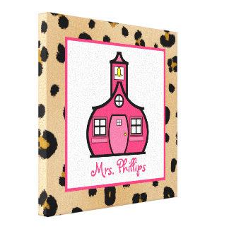 Schoolhouse & Leopard Wrapped Canvas For Teacher Canvas Print