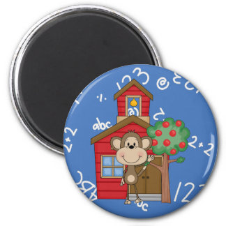 Schoolhouse Monkey 2 Inch Round Magnet