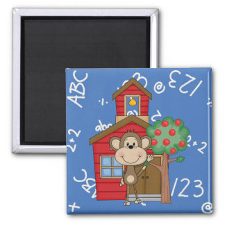 Schoolhouse Monkey 2 Inch Square Magnet
