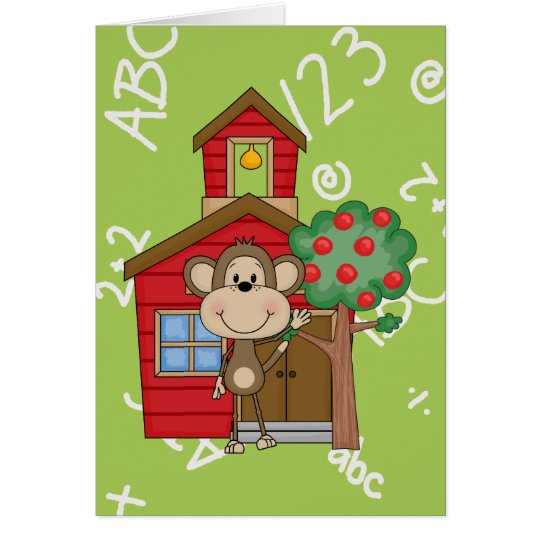 Schoolhouse Monkey Card