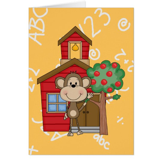 Schoolhouse Monkey Card