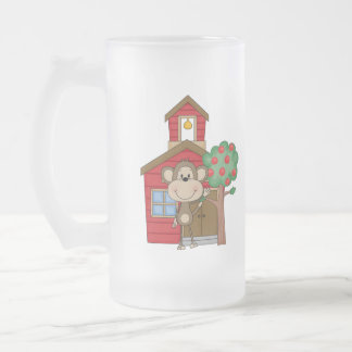 Schoolhouse Monkey Frosted Glass Beer Mug