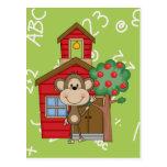 Schoolhouse Monkey Post Card