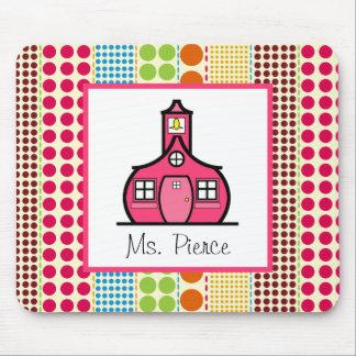 Schoolhouse  / Multicolored Polka Dots Teacher Mouse Pad
