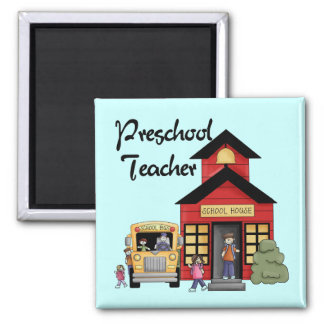 Schoolhouse Preschool Teacher Tshirts and Gifts 2 Inch Square Magnet