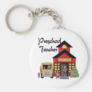 Schoolhouse Preschool Teacher Tshirts and Gifts Keychain