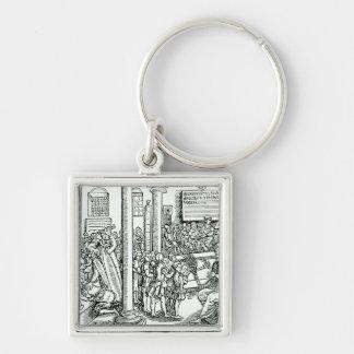 Schoolroom scene in Tudor times Key Chains