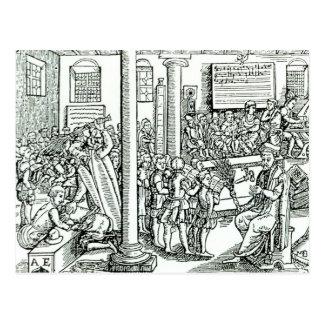 Schoolroom scene in Tudor times Postcard