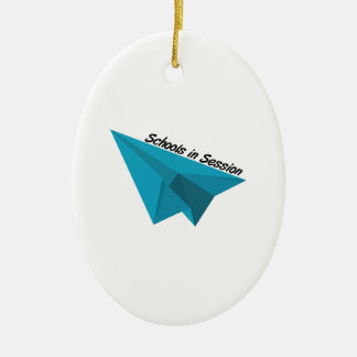 Schools In Session Double-Sided Oval Ceramic Christmas Ornament