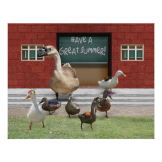 School's Out! Have a Great Summer, Little Ducks! Poster