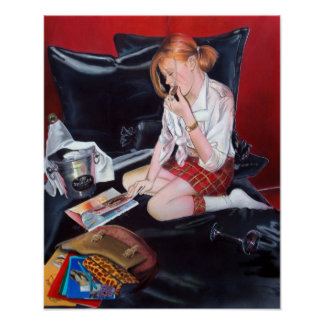 School's out imprimes poster print woman painting