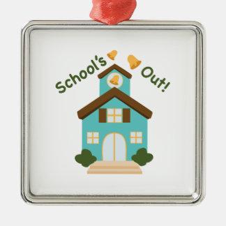 Schools Out Silver-Colored Square Ornament