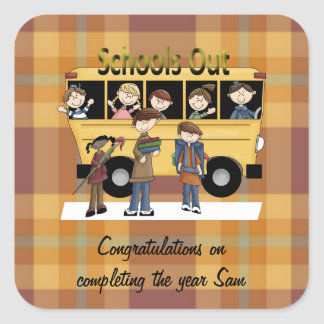 Schools Out Square Sticker