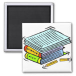 Schoolwork Pile 2 Inch Square Magnet