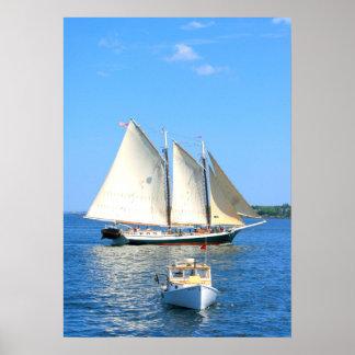 schooner and lobster boat poster