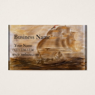 Schooner And  Map Business Card
