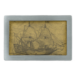 Schooner And Vintage Map Belt Buckle