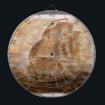 """Schooner And Vintage Map Dartboard<br><div class=""""desc"""">A schooner against a vintage 1800&#39;s map of the Mississippi</div>"""