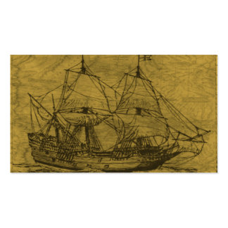 Schooner And Vintage Map Double-Sided Standard Business Cards (Pack Of 100)