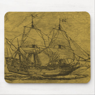 Schooner And Vintage Map Mouse Pad