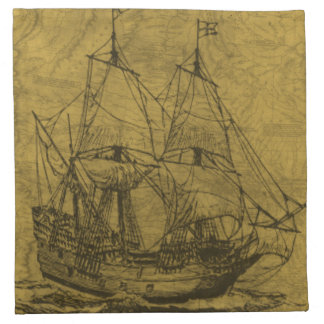 Schooner And Vintage Map Napkin