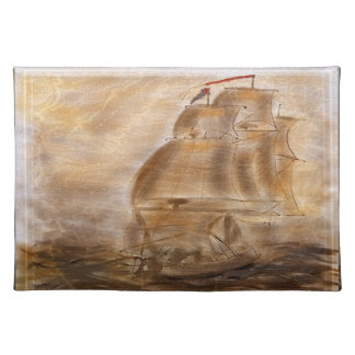 Schooner And Vintage Map Place Mats